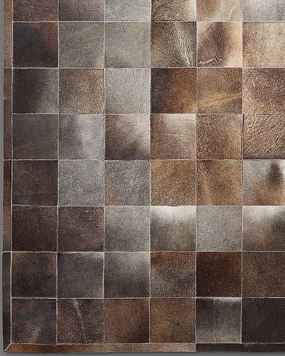 South American Cowhide Tile Rug - Charcoal