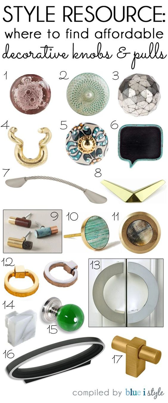 STYLE RESOURCE: Where to find affordable decorative knobs and pulls. Updating the hardware on your furniture and cabinets is one of the easiest ways to quickly update the look of your space.