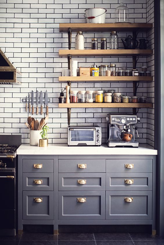 subway tile + open wood shelves + kitchen dresser
