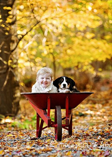 Sweet | Boy and Girl in a wheel barrel in autumn