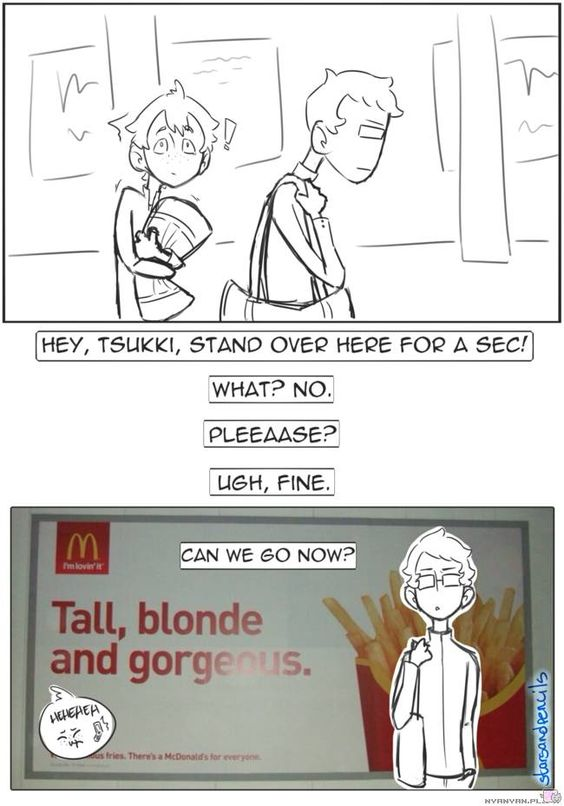 Tall, blonde and grogeous Tsukki XD | Haikyuu!! funny :D