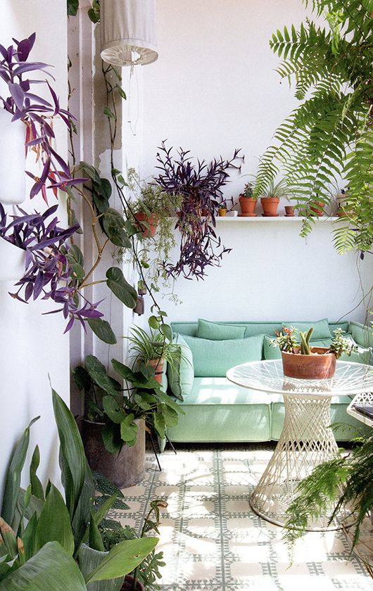 That mint green couch is the perfect piece for this green space.