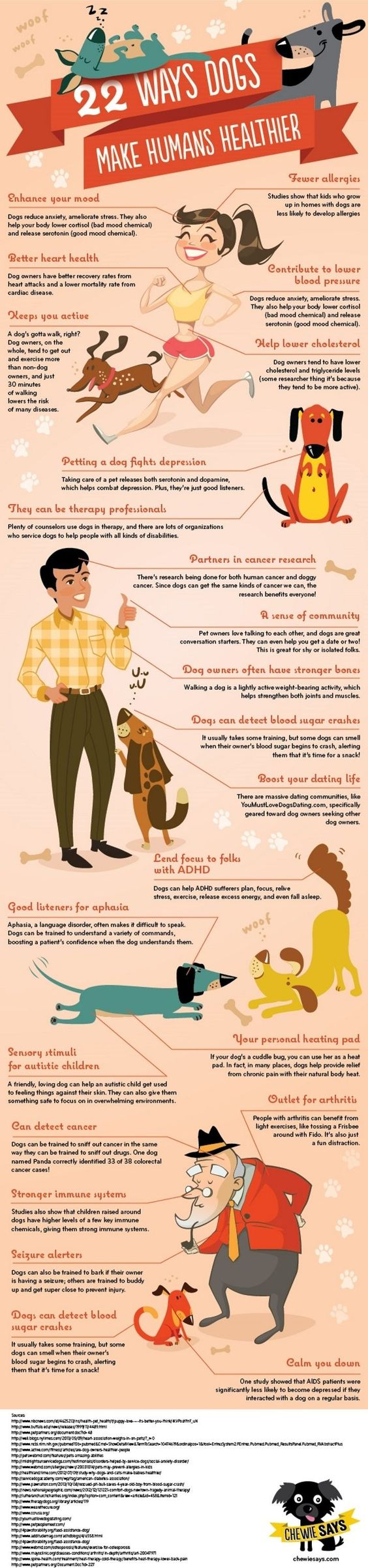 "The good pups at Cheewie Says decided to compile all the ways dogs help humans' health and create an adorable infographic about it! Here are 22 ways dogs can make humans healthier that you can point to (literally if you print this out) when cat people ask you, ""So WHY did you get a dog?"
