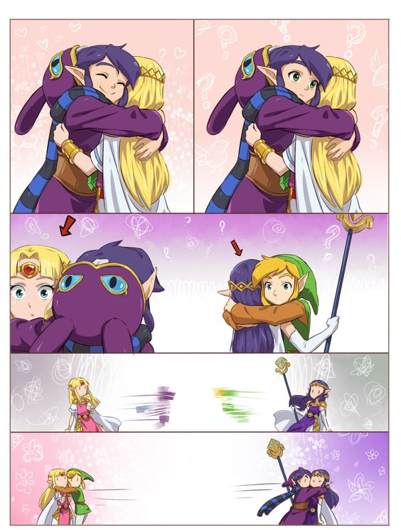 The Legend of Zelda: A Link Between Worlds / Link, Princess Zelda, Ravio, and Princess Hilda /