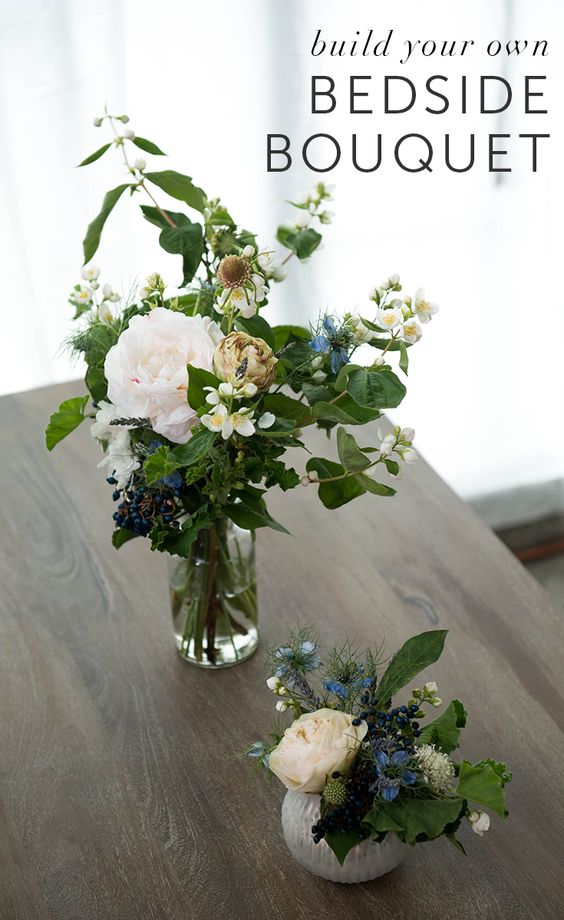 The talented floral designers at Wild Roots LA lent us their green thumbs for this Freshen Session on building the perfect summer-time arrangement for your bedside. These vastly different finished products show how creative you can get with florals — the same blooms can create a lush, billowing display or a simple and sweet accent piece. Follow these easy steps to create one of your own. The only rule is being creative!