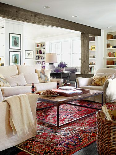 This room is not only beautiful; it's practical too! The slipcovers are washable and the rug's pattern easily hides stains.