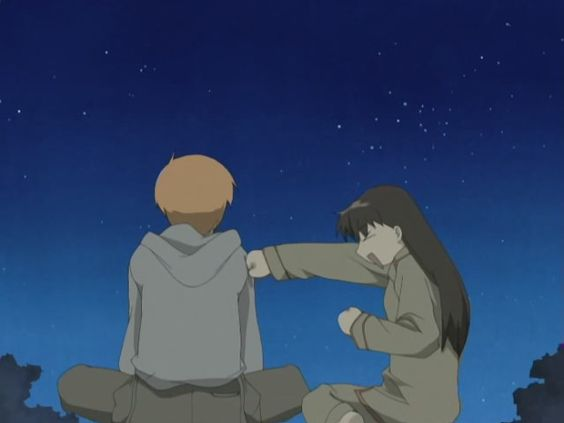 Tohru and Kyo on the roof.
