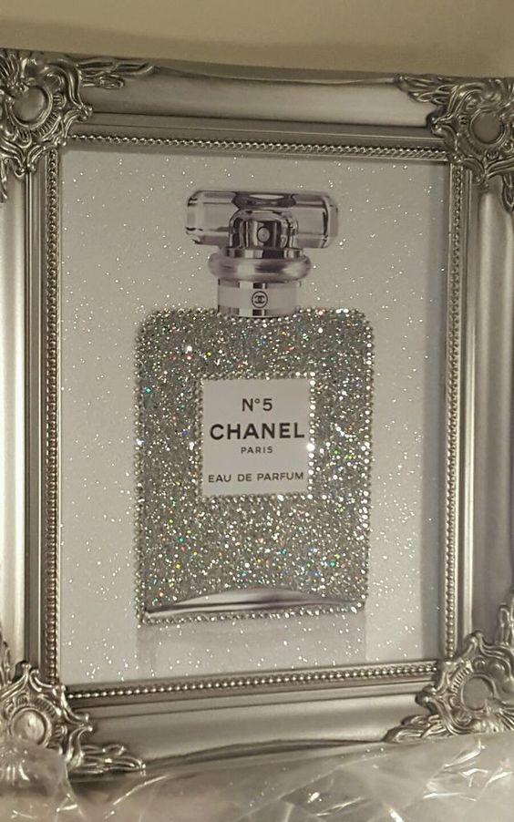 Unique 10x8 Shabby Chic Chanel No5 Canvas Print Swarovski Crystals,  | eBay
