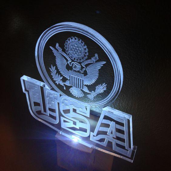 USA with Seal LED Night Light #lednightlight #nightlight #usanightlight #4thofjuly #july4th #laserengraving #forsale #miami