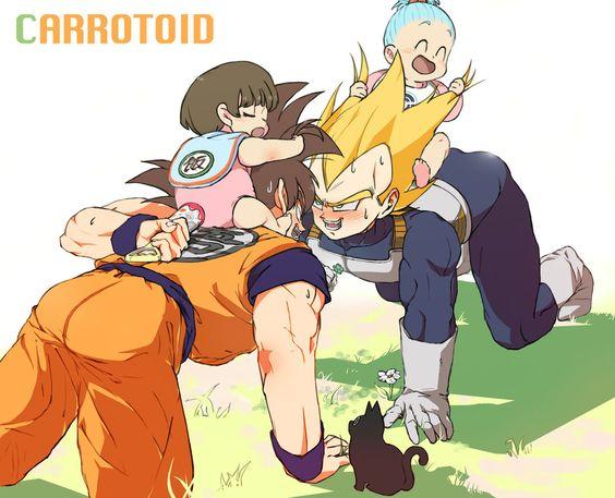 Vegeta and Goku play with Pan and Bulla