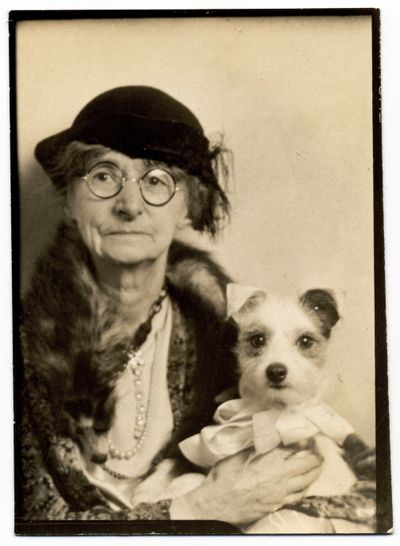 ** Vintage Photo Booth Picture ** Older woman with the most adorable dog. From the book American Photobooth by Nakki Goranin.
