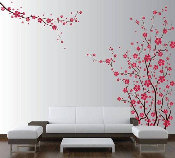 Wall Decal of Japanese Magnolia Cherry Blossom Flowers - Love the cute style.