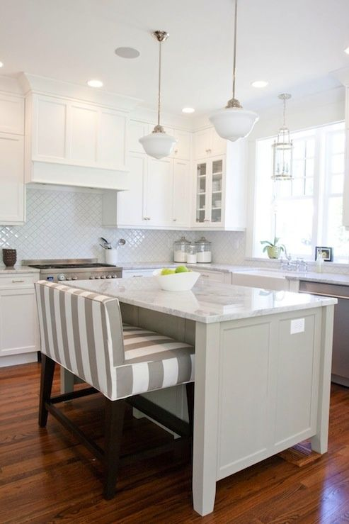 White #kitchen with island bench and marble countertop