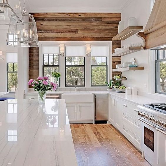 white kitchen with wood