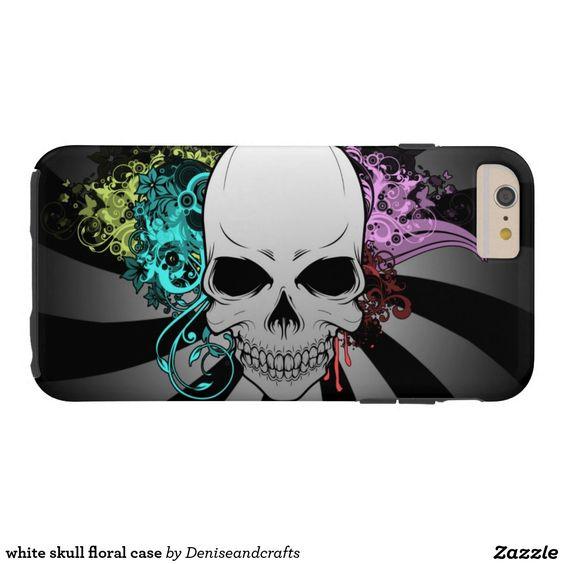white skull floral case