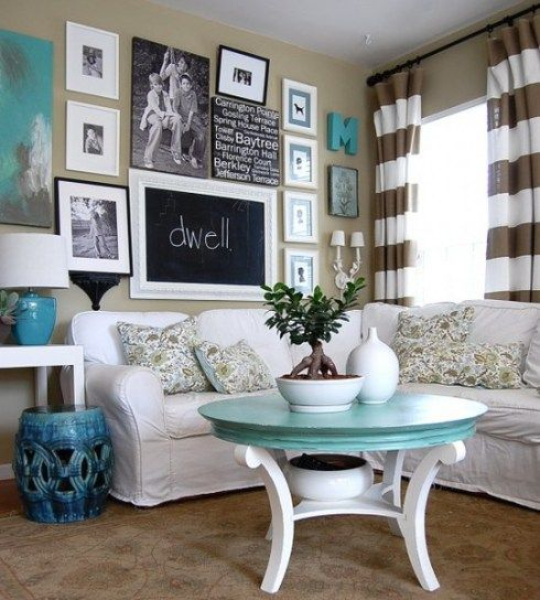 white tan blue living room -- I think we should really look into this color scheme! Love all I need is some couch covers.