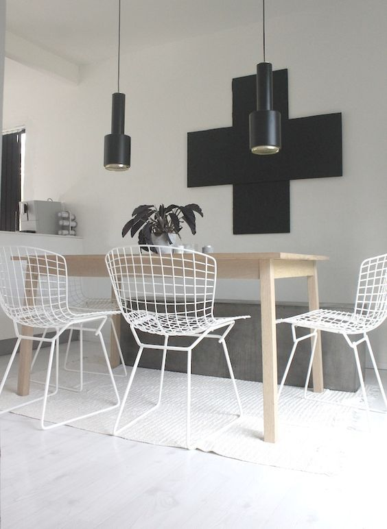 wire chairs on diningroom
