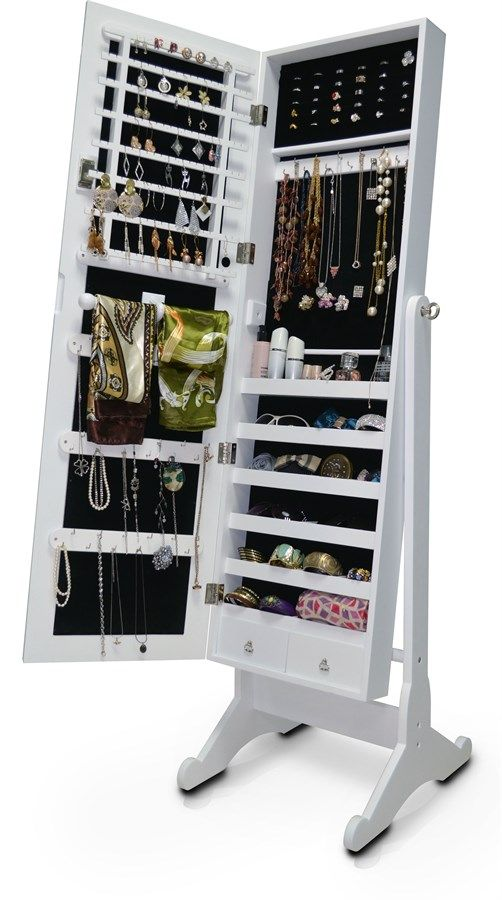 You'll enjoy storage galore with our Wessex Floor Mirror. Not only does it reflect via its center-hinge-tilting mirror, it opens up to reveal an extensive jewelry cabinet featuring six shelves, two pull-out drawers and an abundant supply of hooks. Whether you need to store earrings, rings, necklaces, bracelets, scarves or sunglasses, this is the floor mirror for :Standing Body-Length Floor Mirror with Integrated Jewelry CabinetDressing mirror opens to reveal a jewelry