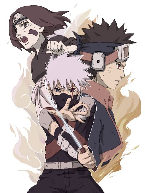 Young Kakashi, Rin, & Obito