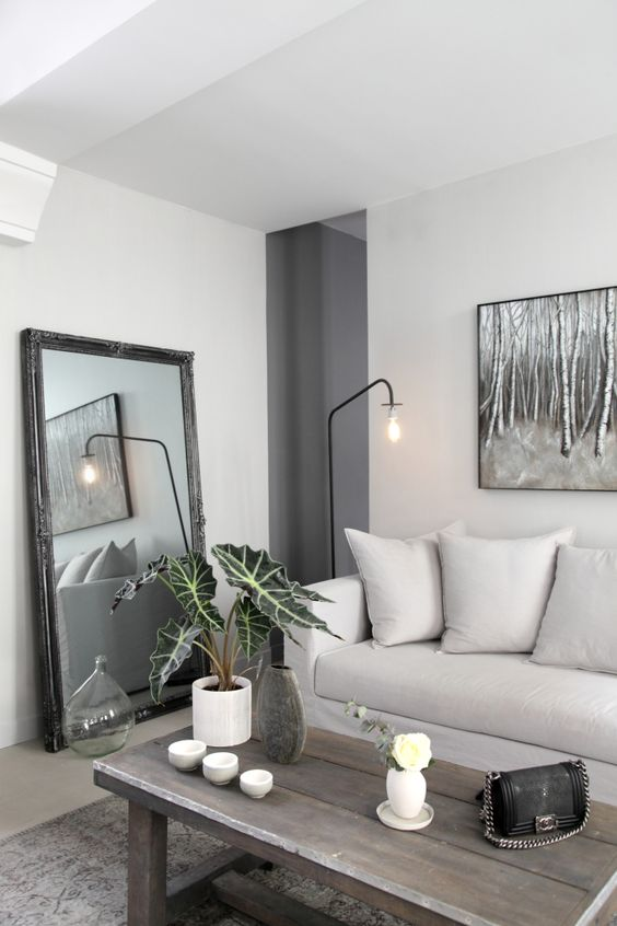A gray living room | @ANDWHATELSEISTHERE