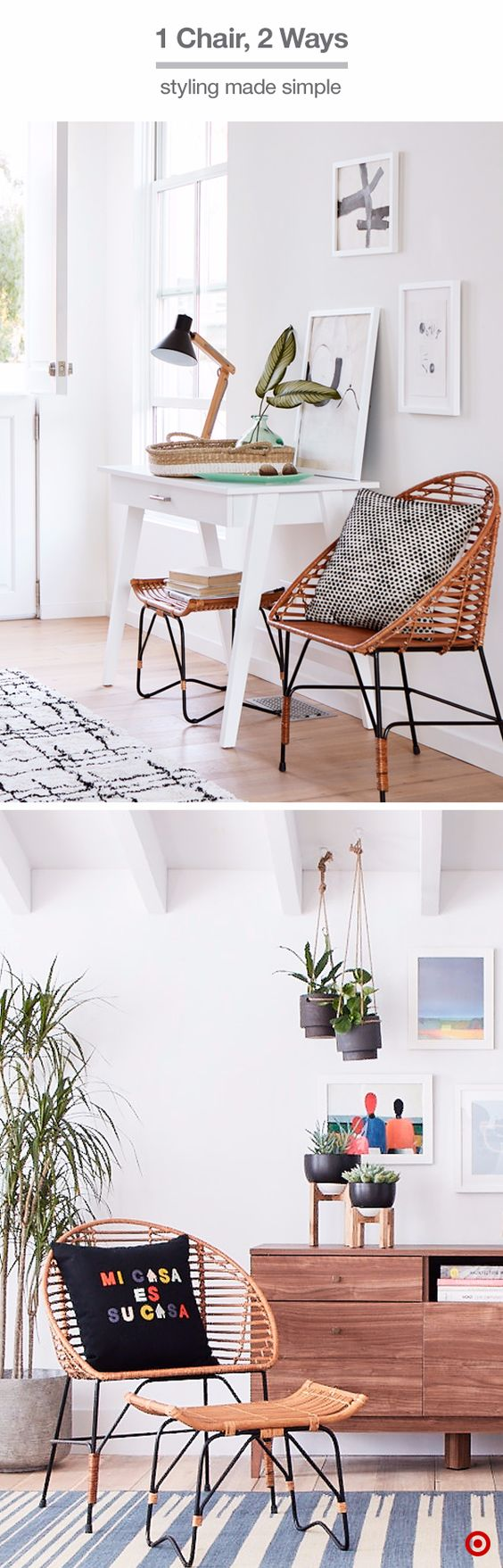Adding this sculptural rattan chair to a room will create a stylish impact that's still relaxed and low profile. Use it as a place to rest a bag or put on your shoes at the entry, or use it to create texture and interest in small spaces—a throw pillow makes it cozy and you can use the ottoman for additional elevated storage under a console table.