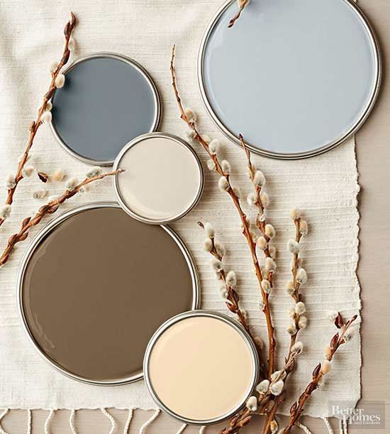 Although this stony-tone palette's charcoal and ash grays read as cool, reddish undertones heat up the cocoa brown, cream, and khaki hues to create a perfectly balanced mix of warm and cold temperatures. Try this palette in rooms outfitted with naturally warm-stained cabinets, flooring, and