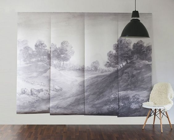 Anewall has a great line of vintage scenes, including this shaded landscape which covers a 9' x ' area. It's also removable and repositionable, making it great for built-in cabinets or even walls. Just peel it off when you move out.