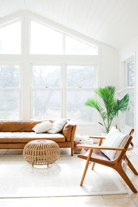 Bright living room with a leather couch and indoor plant