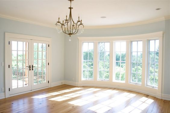 french doors, floor to ceiling windows love this blue for my current living room