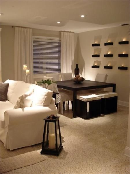 HGTV - dining rooms - square dining table, espresso dining table, dining stools, wall shelves, chunky wall shelves, White slipcovered sofa and