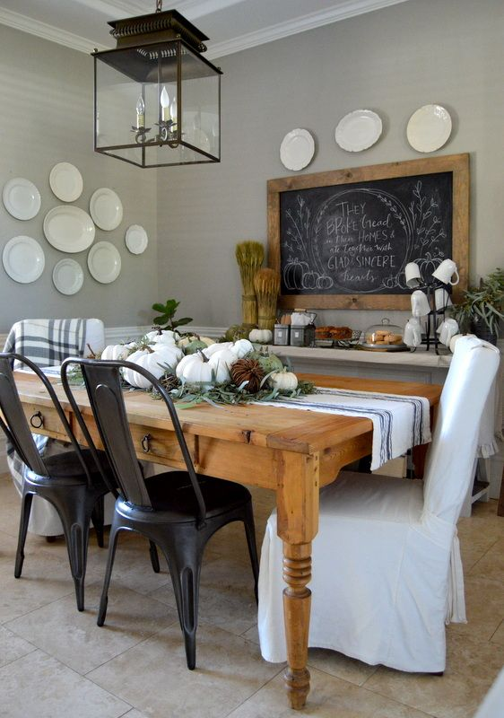 Home Remedies RX / 2015 Fall Home Tour/ Dining Room, wall color is Bedford Gray, Martha Stewart