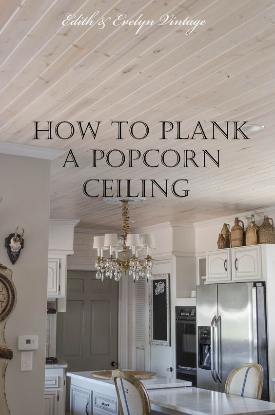 How to plank a popcorn ceiling with lightweight tongue and groove wood planks.