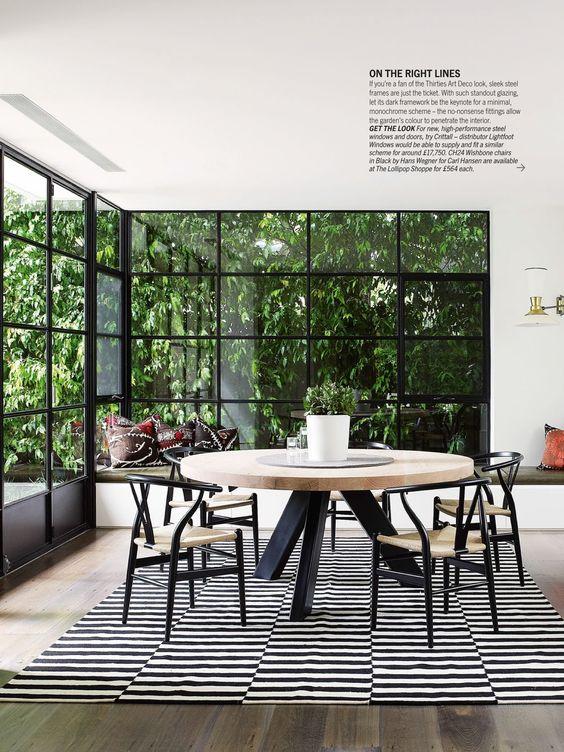 Living Etc magazine. Fabulous corner windows. And the greenery in garden background.