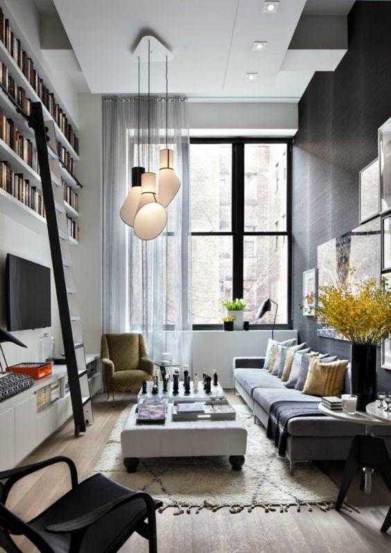 Love the lights #livingroom interior design, sofas, flooring, ceiling, lighting, rugs, coffee tables, art in the living room #decorating loft wallpaper
