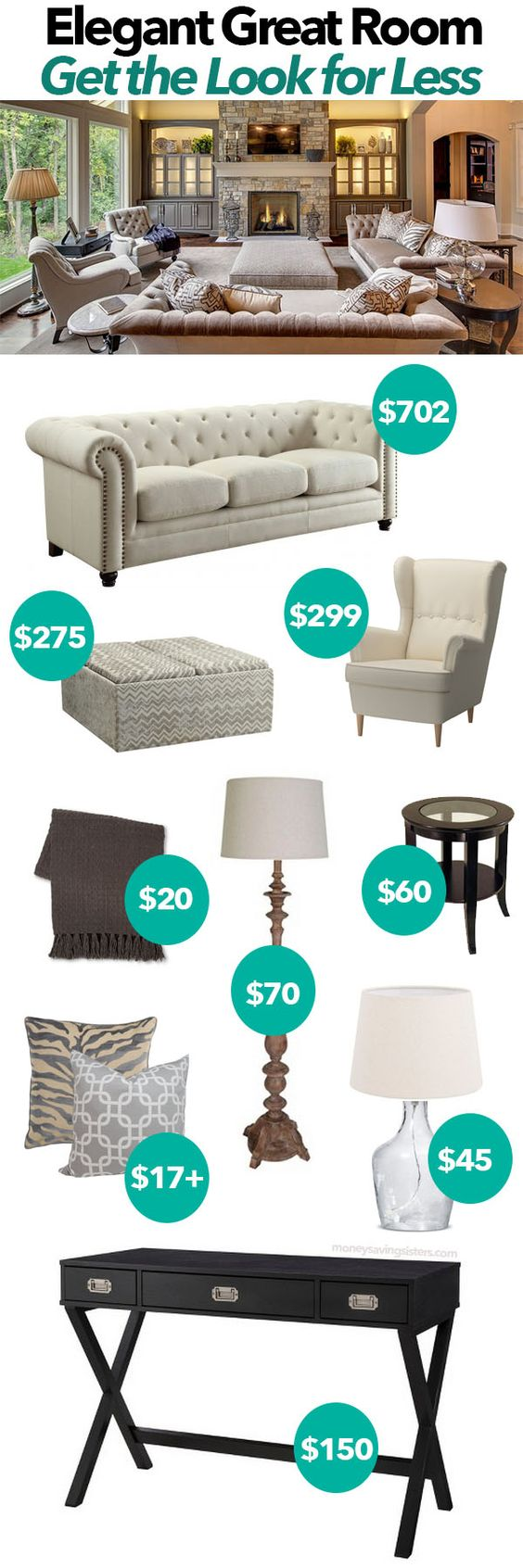 Love the neutrals in this living room re-do. All the pieces are actually affordable too!