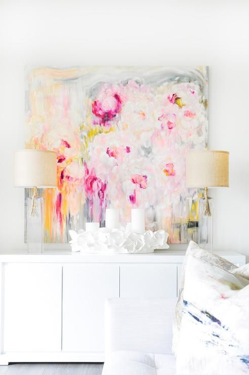 Pink and peach statement art - perfect in a bright living space