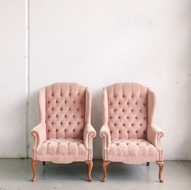 pink wingback chairs