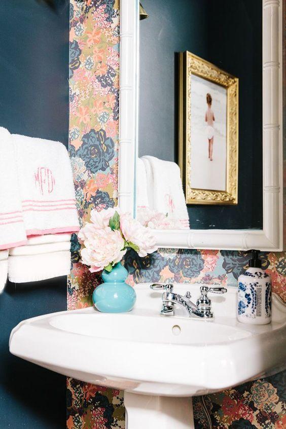 powder bath, wallpaper, floral, monogra