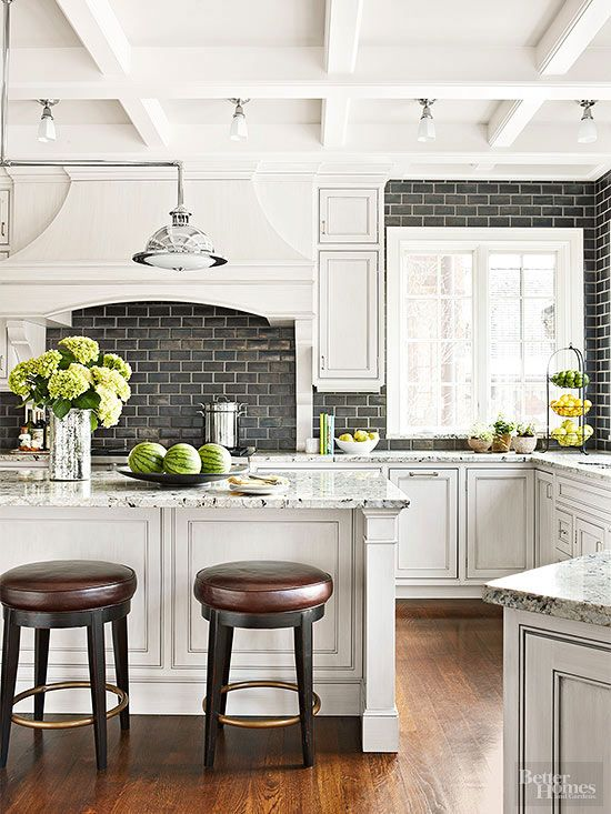 Realize the untapped potential of kitchen ceilings. For the often overlooked area overhead, shallow coffers shake up small spaces, while moldings complementing the shape of an island or work space below can help define larger