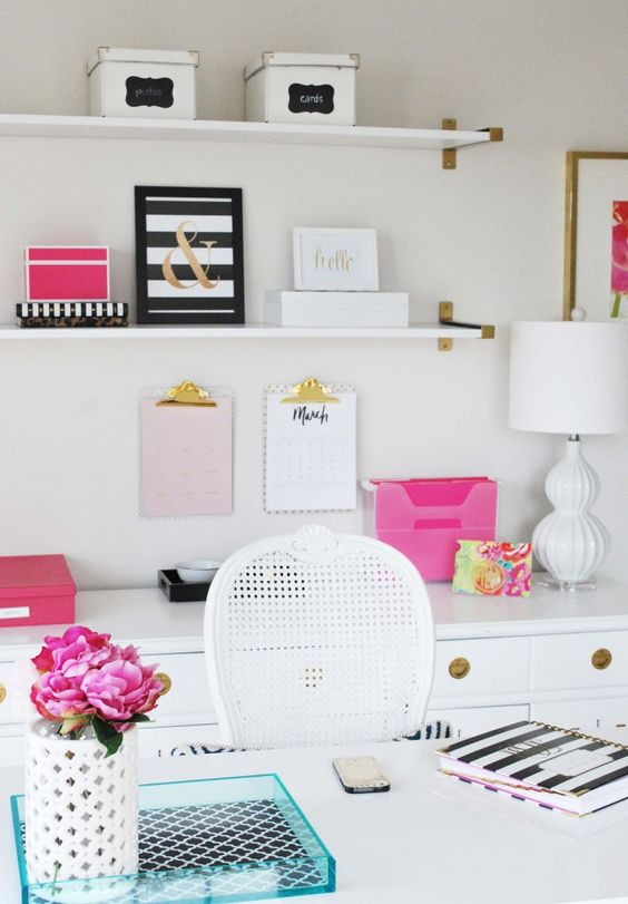See this home office inspired by Kate Spade with gold, pink and  and inexpensive decor ideas!