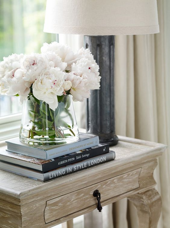 Side Table Decor Ideas. How decorate side table or bedroom nightstand. Interior Design by Beth Webb Interiors.