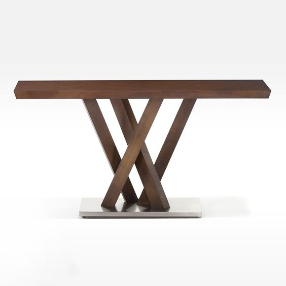 WOODEN CONSOLE TABKE } Obliq Rectangular Wood Console Table|  #consoletableideas #modernconsole