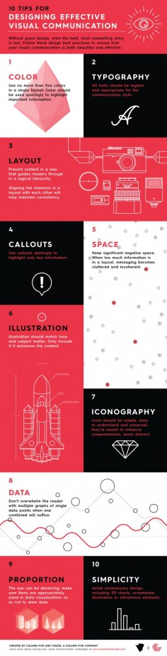 10 Tips for designing effective visual communication   infographic by Column Five via @Peg Fitzpatrick