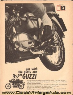 1966 vintage motorcycle ad - Moto Guzzi 125 Sport ''Get with the Gutsy One'' $
