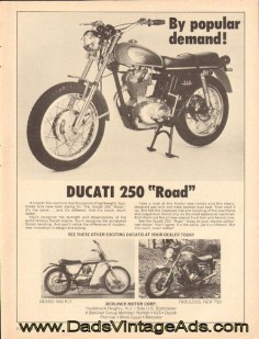 "1972 Vintage Ducati Motorcycle Ad – Ducati 250 ""Road"" – by popular demand!"