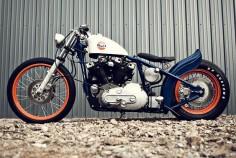 """1979 Harley Davidson Ironhead Custom """"Steve McQueen / Le Mans"""" inspired bike."""