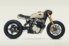 "1987 Honda XL600R enduro named ""KT600"" after the customer who commissioned the build from custom shop Classified Moto, actress Katee Sackoff from Battlestar Galactica"