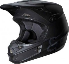 2014 Fox Racing V1 Matte Black Motocross MX Dirtbike ATV Adult Mens Helmet Snell