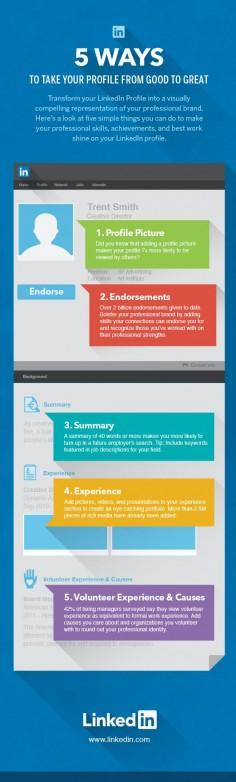 5 LinkedIn Profile Tips Infographic #LinkedIn