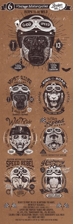 6 Vintage Motorcycles Badges Template PSD, Vector EPS, AI. Download here: